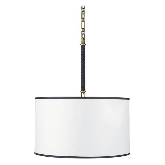And White Woven Leather Drum Pendant With Black And White Drum Pendant Lights (View 12 of 15)
