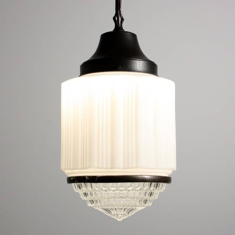 Antique Art Deco Skyscraper Pendant Light With Two Part Prismatic Pertaining To Art Nouveau Pendant Lights (#3 of 15)