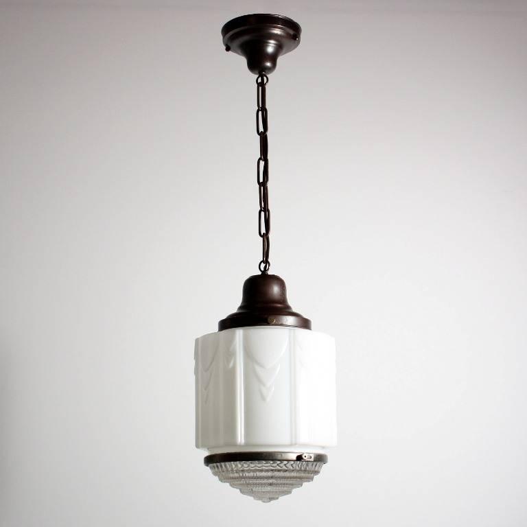 Antique Art Deco Skyscraper Pendant Light With Two Part Prismatic Regarding Art Nouveau Pendant Lights (#5 of 15)