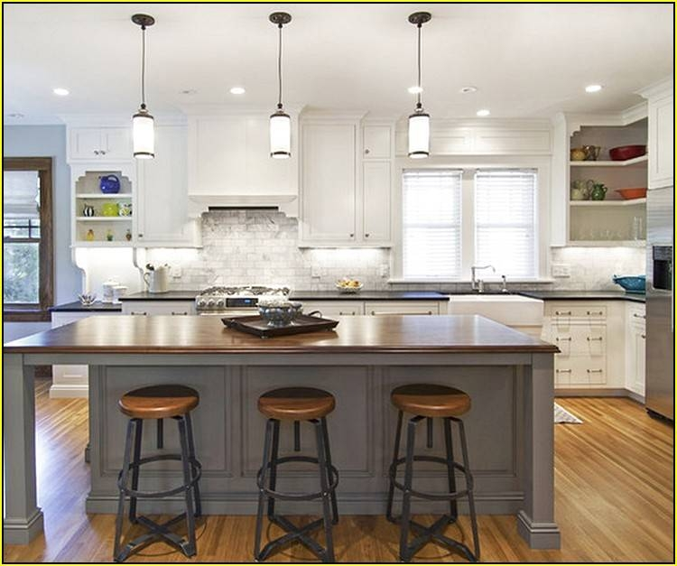 Modern White Kitchen With Island And Pendant Lights: 15 Best Collection Of Single Pendant Lighting For Kitchen