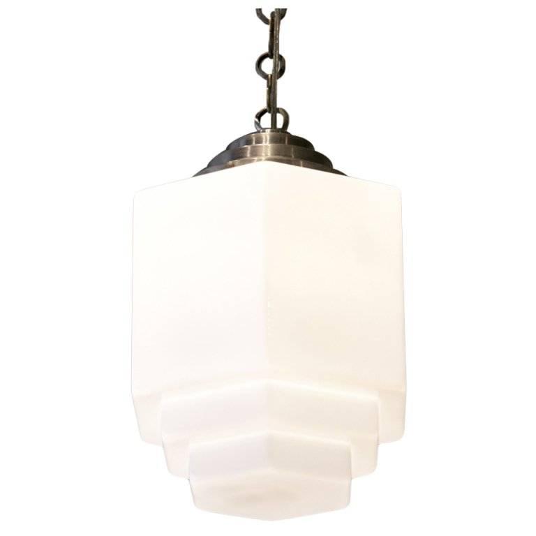 Art Deco Hand Blown Milk Glass Pendant At 1Stdibs With Regard To Milk Glass Pendants (#4 of 15)