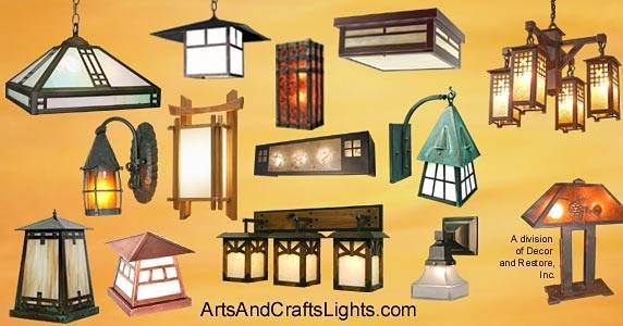 Arts And Crafts Lights For Craftsman Bungalow Homes Within Arts And Crafts Lights (#7 of 15)