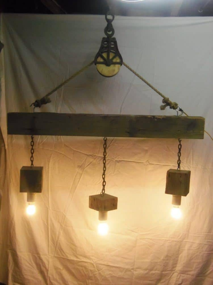 Beam Wood Light Fixture And Pulley Pendant Light | Id Lights For Pulley Pendant Light Fixtures (#4 of 15)