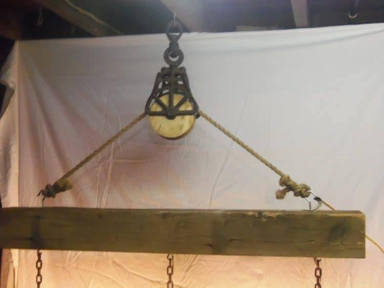 Beam Wood Light Fixture And Pulley Pendant Light | Id Lights Pertaining To Reclaimed Pendant Lighting (View 10 of 15)