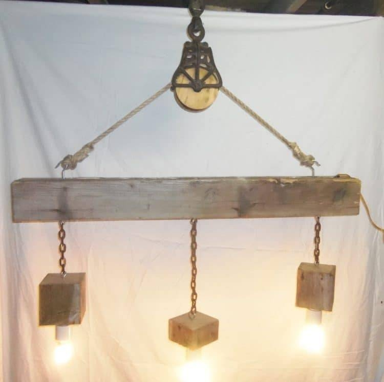 Beam Wood Light Fixture And Pulley Pendant Light | Id Lights Pertaining To Reclaimed Pendant Lighting (View 5 of 15)