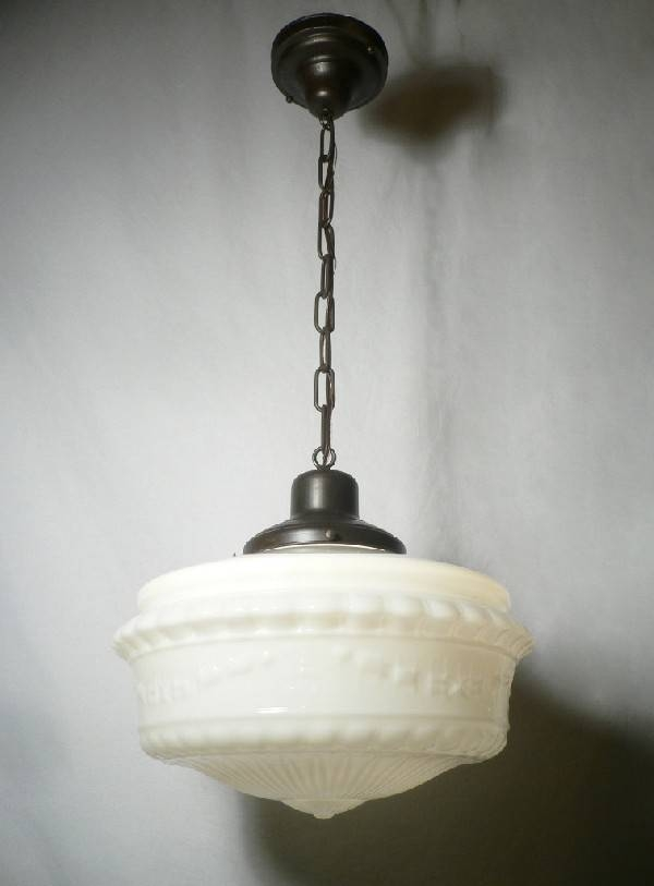 Beautiful Antique Pendant Light Fixture With Original Milk Glass Pertaining To Milk Glass Lights Fixtures (View 2 of 15)