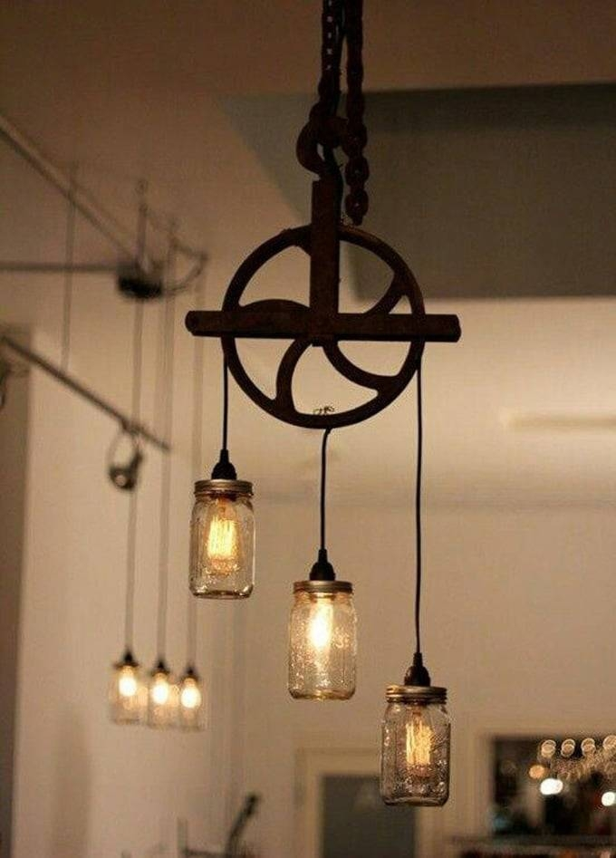 Beautiful Well Pulley Lamp With Mason Jars | Id Lights For Pulley Lights Fixture (#5 of 15)