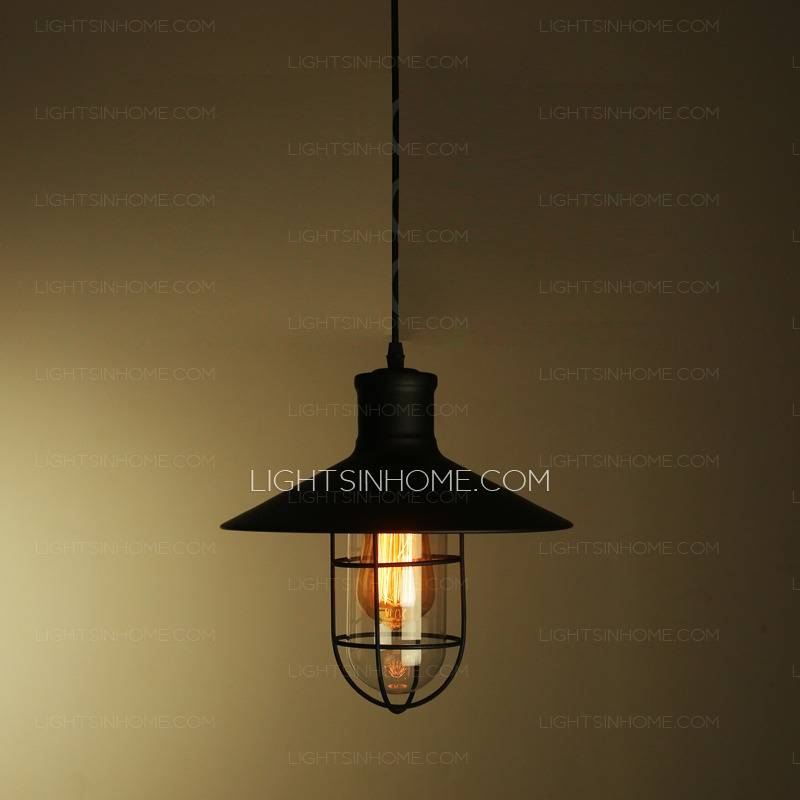 Black Industrial Type One Light Wrought Iron Pendant Lights Within Black Wrought Iron Pendant Lights (#3 of 15)