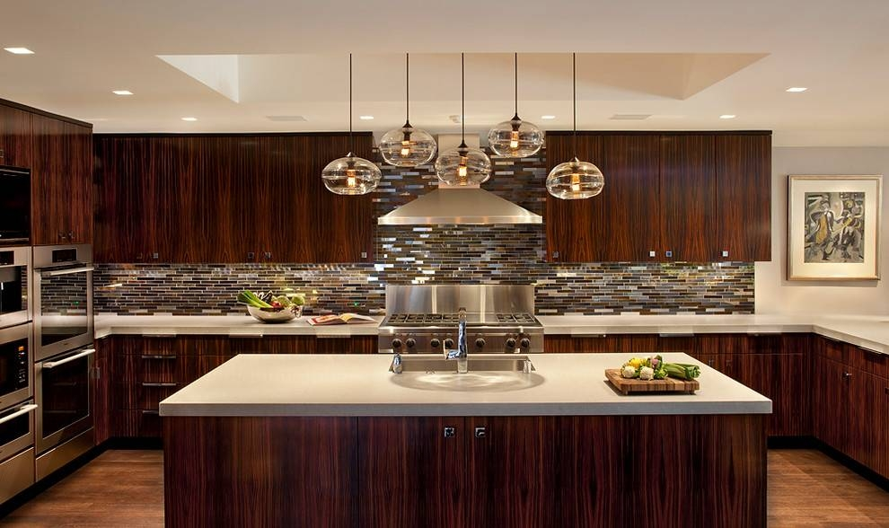 Blown Glass Pendant Lights Kitchen Contemporary With Appliance Regarding Blown Glass Pendant Lighting For Kitchen (#3 of 15)