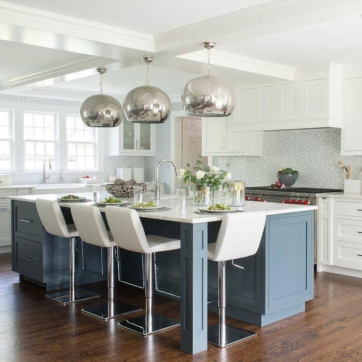 Blue Kitchen Island With Mercury Glass Pendant Lights For Blue Kitchen Pendant Lights (#7 of 15)