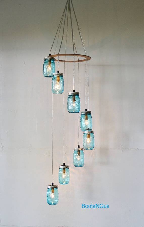 Blue Spiral Mason Jar Chandelier 8 Falling Jars Rustic With Blue Mason Jar Lights Fixtures (#11 of 15)