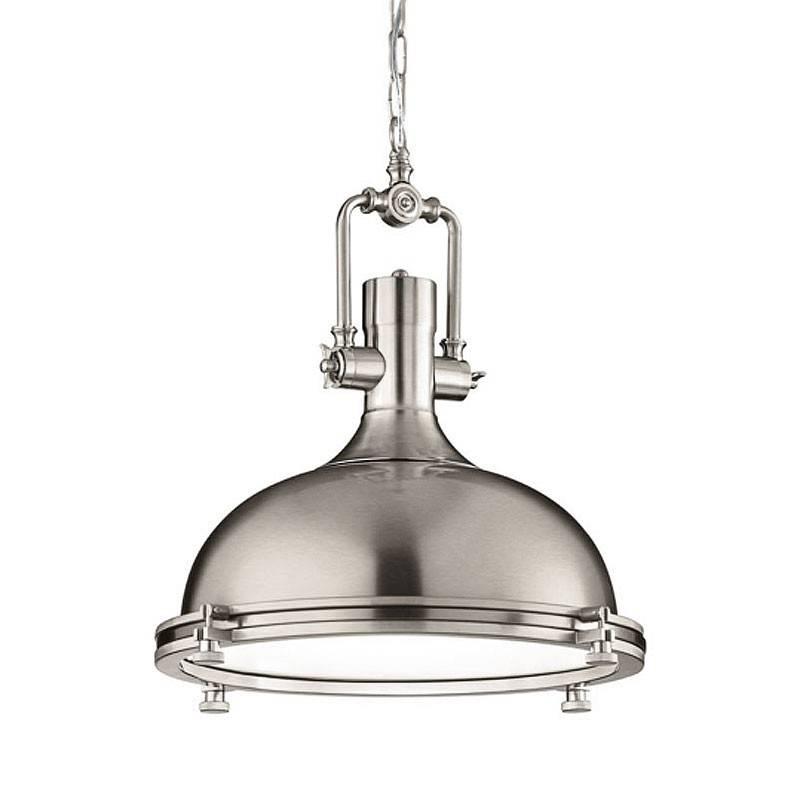 Boston Industrial Pendant Lamp – Brushed Nickel – Designer Hanging Inside Boston Pendant Lights (#10 of 15)