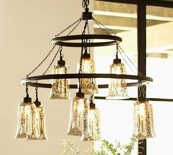 Brantley Antique Mercury Glass Chandelier | Pottery Barn With Mercury Glass Lighting Fixtures (#3 of 15)