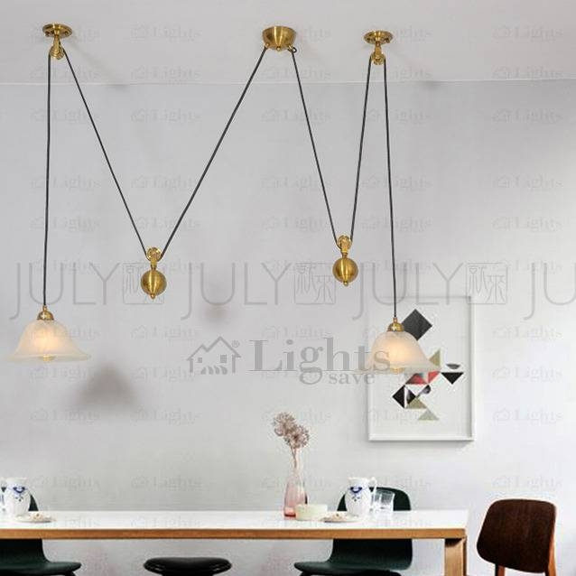 Brass 2 Light Pull Down Pendant Light Fixture Pulley Shaped For Pull Down Pendant Lighting (#4 of 15)