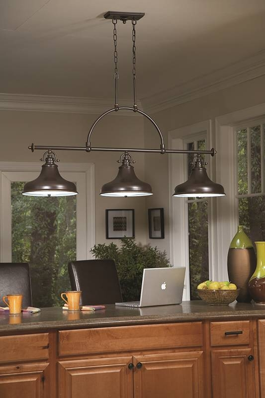 Bronze Triple Pendant Light With Regard To Triple Pendant Kitchen Lights  (#3 Of 15
