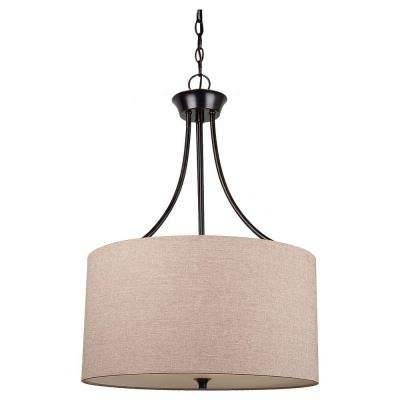 Brown/tan – Drum – Pendant Lights – Hanging Lights – The Home Depot Pertaining To Brown Drum Pendant Lights (#5 of 15)