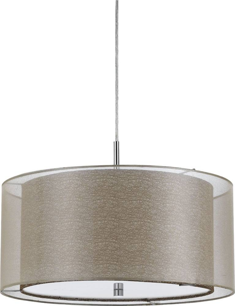Cal Fx 3527 1P Nianda Clear Drum Hanging Light Fixture – Cal Fx Intended For Double Pendant Lights Fixtures (#4 of 15)