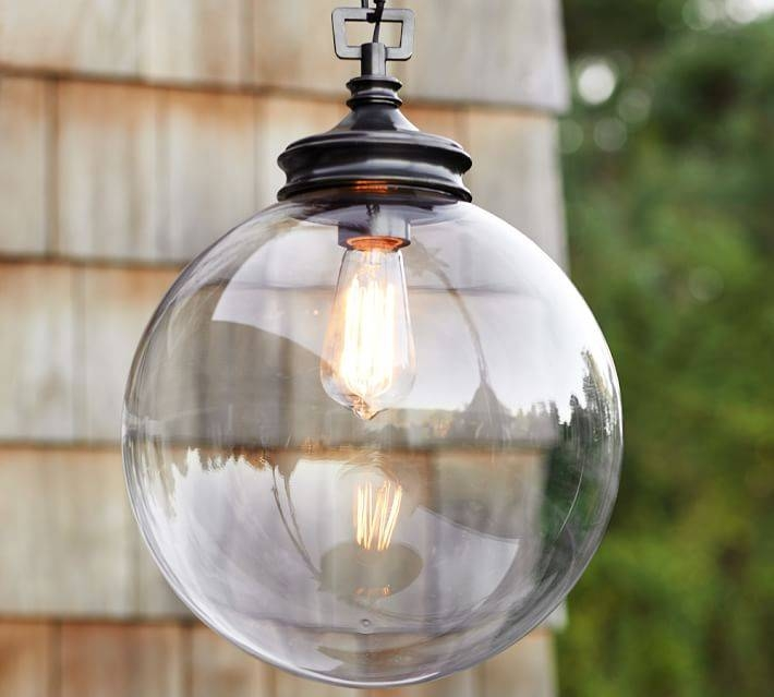 Calhoun Glass Indoor/outdoor Pendant | Pottery Barn Intended For Exterior Pendant Light Fixtures (#6 of 15)