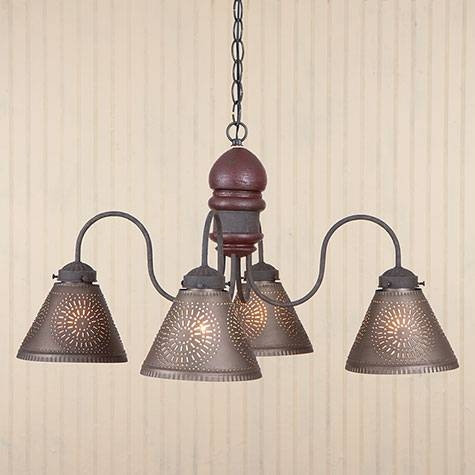 Cambridge Punched Tin Chandelier Throughout Punched Tin Lights Fixtures (#2 of 15)