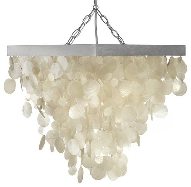 Capiz Seashell Rain Drop Pendant Lamp – Beach Style – Pendant Pertaining To Beach Style Pendant Lights (View 5 of 15)