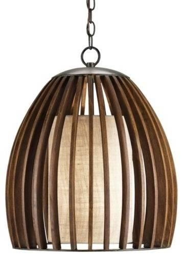 Carina Wood And Burlap Slat Mid Century Style Bell Pendant Lamp Regarding Beach Pendant Lights (#10 of 15)