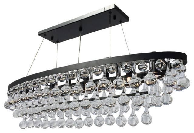 Celeste 8 Light Oval Glass Drop Chandelier, Black – Contemporary For Glass 8 Lights Pendants (#4 of 15)