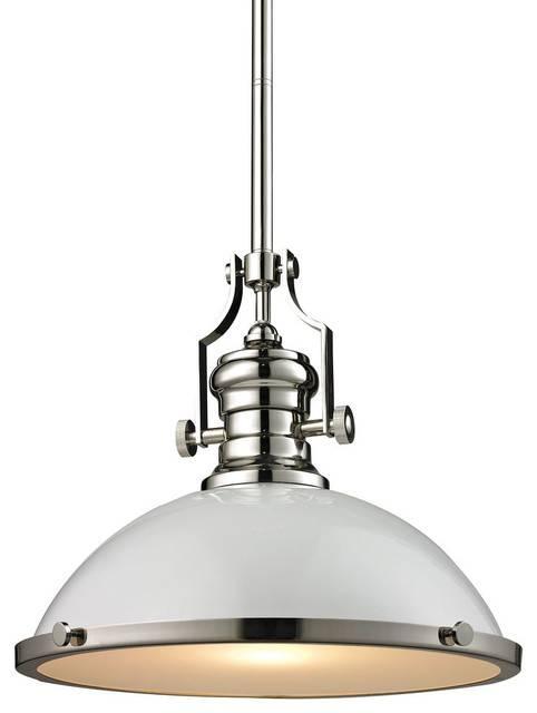 Chadwick 1 Light Pendant, Polished Nickel – Traditional – Pendant In Polished Nickel Pendant Lights Fixtures (#6 of 15)