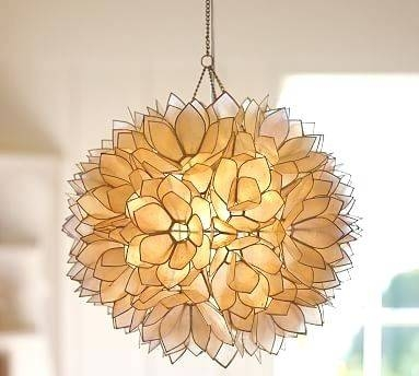Chandelier ~ Capiz Chandelier Light Kit Capiz Shell Lighting Regarding Shell Light Shades Pendants (#1 of 9)