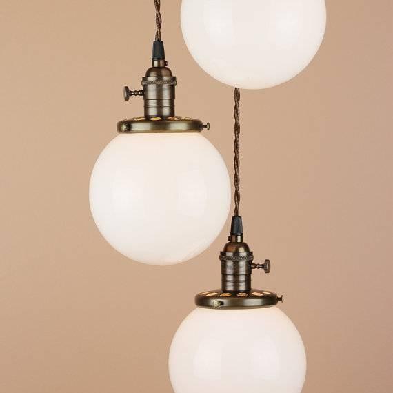 Chandelier Lighting Cascading Pendant Lights 6 White With Regard To Milk Glass Pendant Light Fixtures (#5 of 15)
