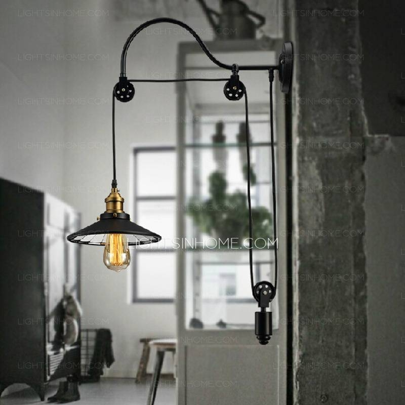 Cheap Industrial Lighting Pulley Shaped Adjustable Wall Sconce Inside Cheap Industrial Lighting (#3 of 15)