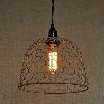 Chicken Wire Dome Pendant Light Regarding Chicken Wire Pendant Lights (#4 of 15)