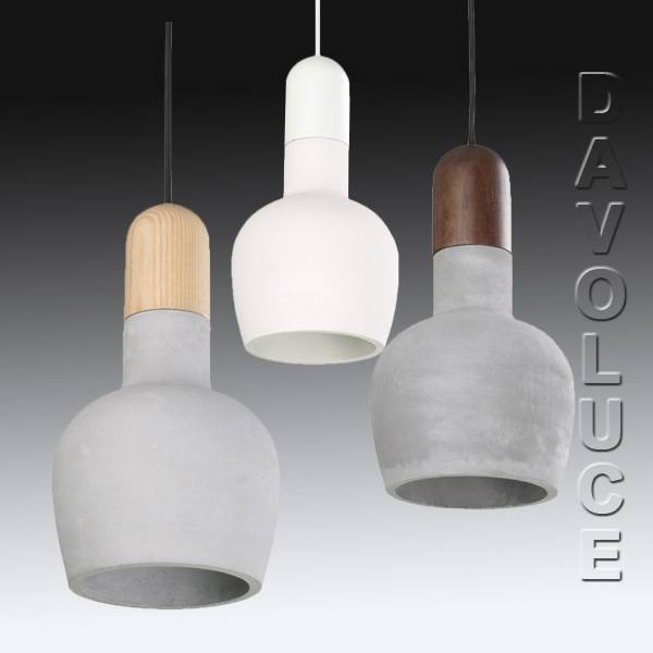 Cla Henge Concrete & Wood Pendant Lights | Davoluce Lighting (#1 of 15)