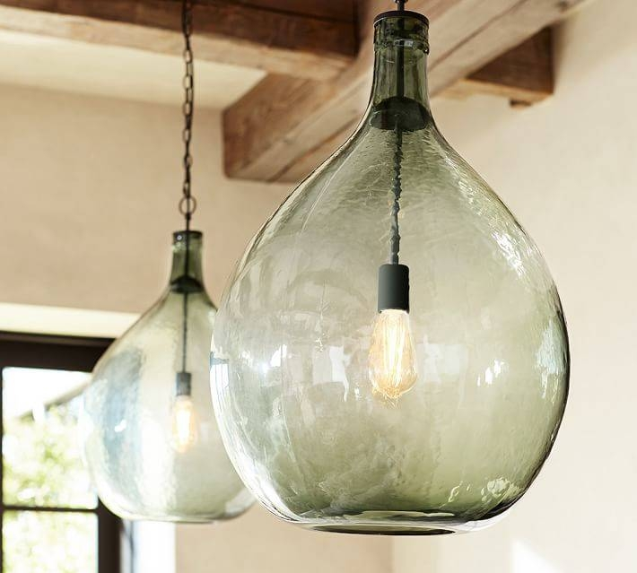 Clift Oversized Glass Pendant | Pottery Barn Intended For Wine Jug Pendant Lights (View 8 of 15)