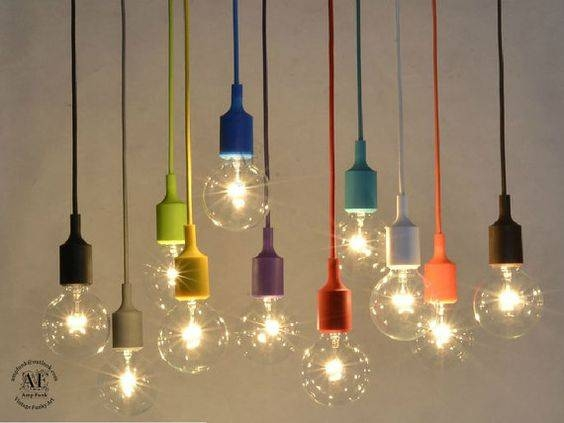 Color Custom Pendant Lighting  Bare Bulb Edison Lamp Modern In Bare Bulb Pendant Lighting (View 8 of 15)