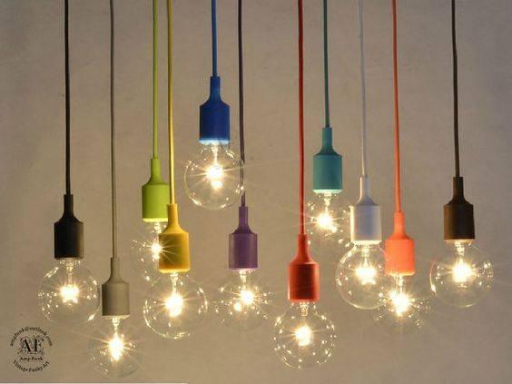 Color Custom Pendant Lighting  Bare Bulb Edison Lamp Modern With Bare Bulb Pendant Lights (View 6 of 15)