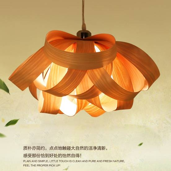 Compare Prices On Wood Veneer Pendant Lamp Online Shopping/buy With Wood Veneer Pendant Lights (View 6 of 15)