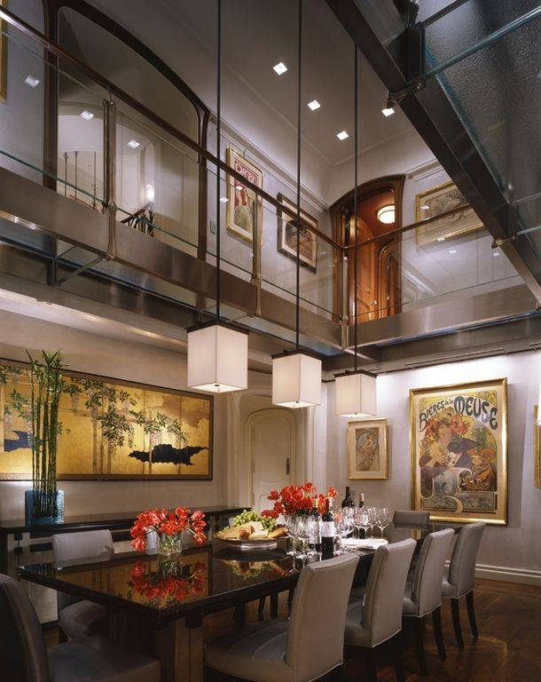 Contemporary Dining Room With Hardwood Floors & High Ceiling Within Pendant Lighting For High Ceilings (#6 of 15)