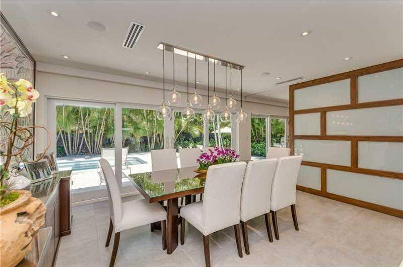 Contemporary Dining Room With Limestone Tile Floors & High Ceiling Pertaining To Pendant Lights For High Ceilings (#7 of 15)