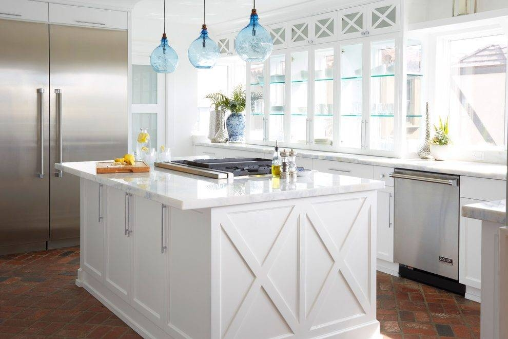 Contemporary Glass Pendant Lights Kitchen Beach Style With Blue Regarding Beachy Pendant Lighting (#9 of 15)