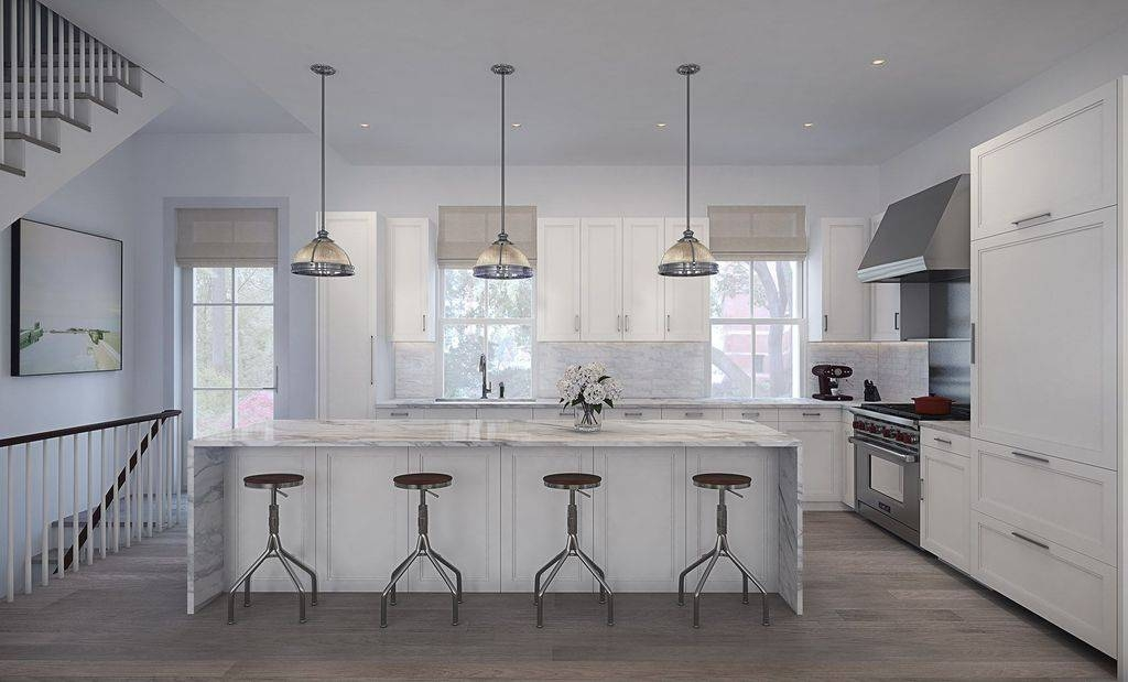 Contemporary Kitchen With Complex Marble Counters & French Doors Pertaining To Clemson Pendant Lights (View 8 of 15)
