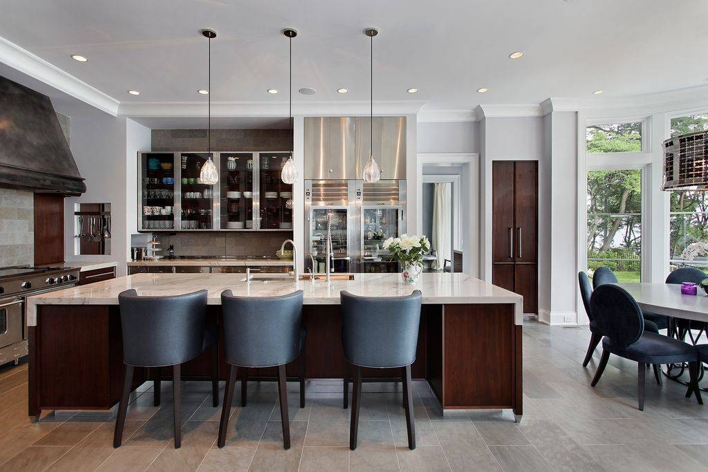 Contemporary Kitchen With Crown Moldinghighgate Builders Regarding Paxton Glass Pendants (#3 of 15)