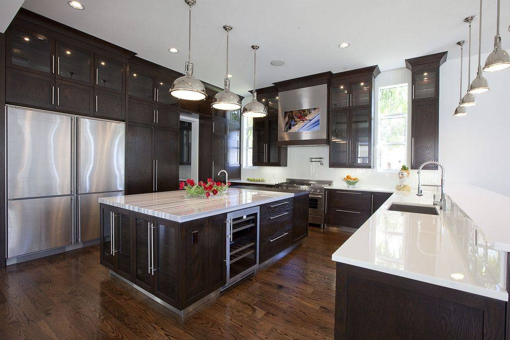 Contemporary Kitchen With Pendant Light & Simple Marble Counters Throughout Harmon Pendant Lights (View 4 of 15)