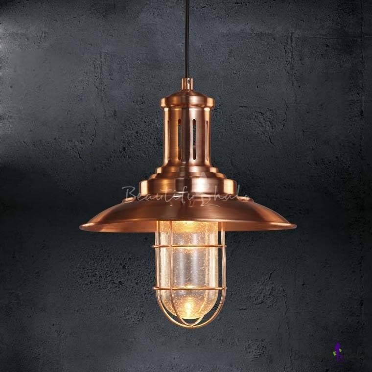 Copper Finished 1 Light Indoor Nautical Pendant Light 12'' Wide Intended For Indoor Nautical Pendant Lighting (#6 of 15)