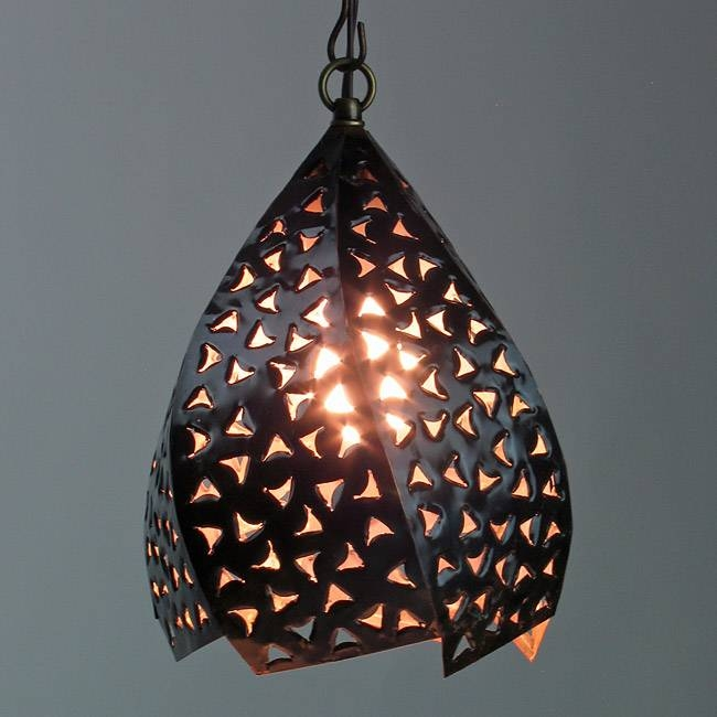 Copper Punched & Twisted Hanging Light In Mexican Pendant Lights (#4 of 15)