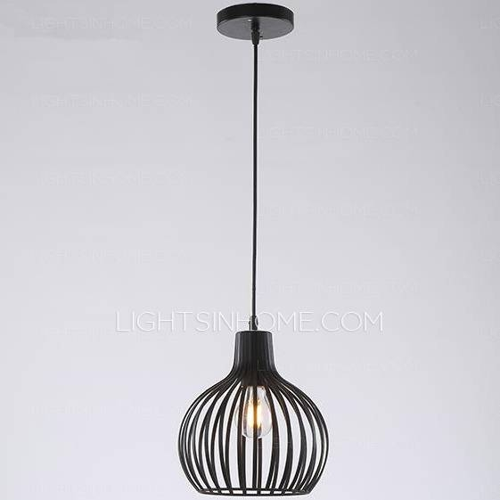 Inspiration about Creative Cage Pendant Light E26/e27 Bulb Base Wrought Iron Throughout Wrought Iron Lights Pendants (#11 of 15)