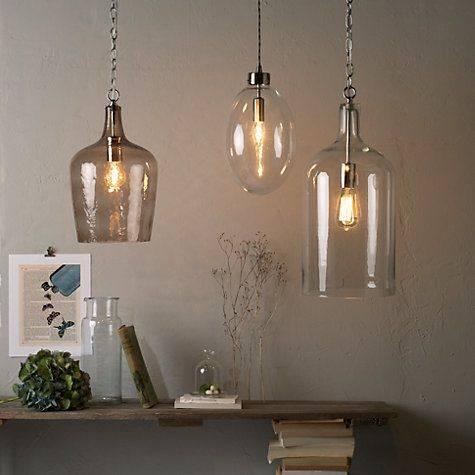 Croft Collection William Bottle Glass Pendant | Glass Pendants Regarding John Lewis Kitchen Pendant Lighting (#14 of 15)
