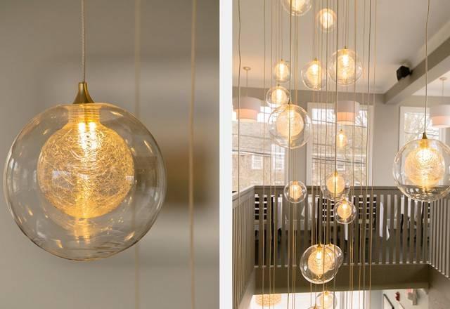 Custom Blown Glass Kadur Staggered Pendant Chandelier Intended For Pendant Lights Stairwell (#4 of 15)