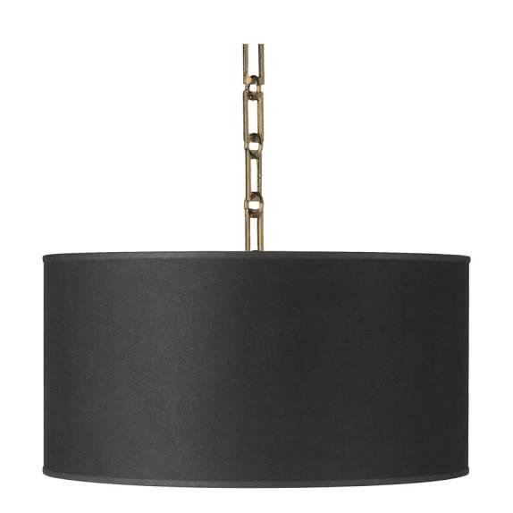 Custom Linen Drum Pendant, Black | Williams Sonoma Throughout Black Drum Pendant Lights (#3 of 15)