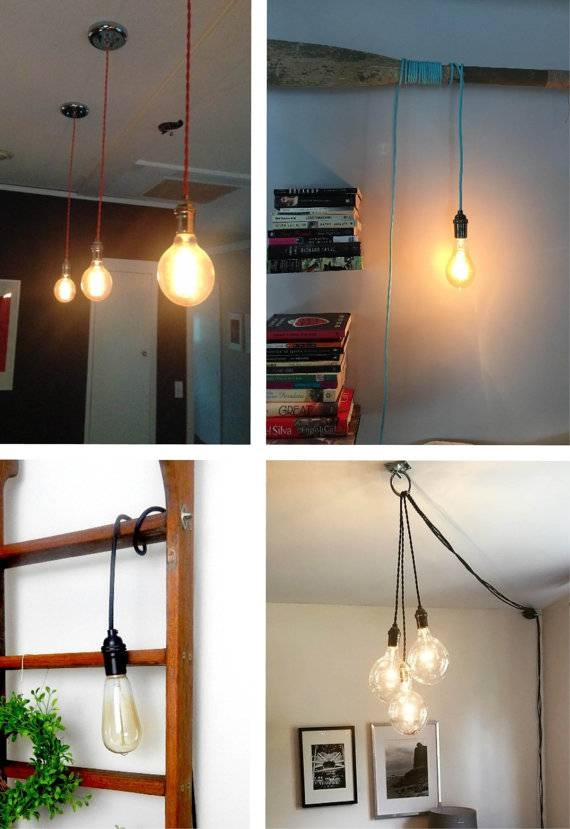 Custom Pendant Light Hanging Light Vintage Edison Light Within Plug In Hanging Pendant Lights (#4 of 15)