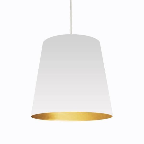 Dainolite 1 Light Oversized Drum Pendant With White On Gold Shade Regarding Dainolite Pendant Series 1 Lights Pendants (#11 of 15)